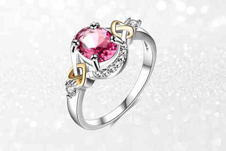 Your Ideal Gift - Pink lab created sapphire heart crystal ring - Save 0%