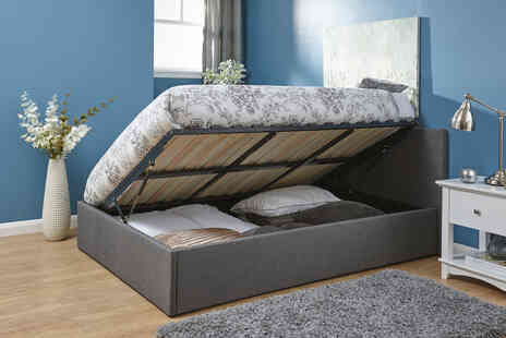 Wowcher Direct - Grey ottoman side lift bed - Save 53%
