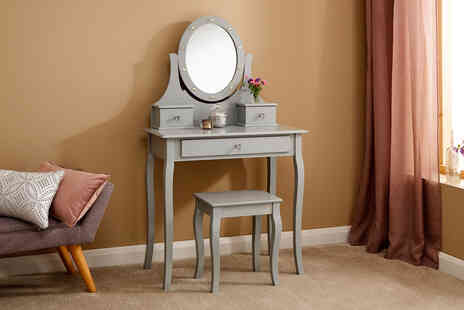 Wowcher Direct - Grace antique style wooden dressing table with LED mirror and stool  - Save 44%