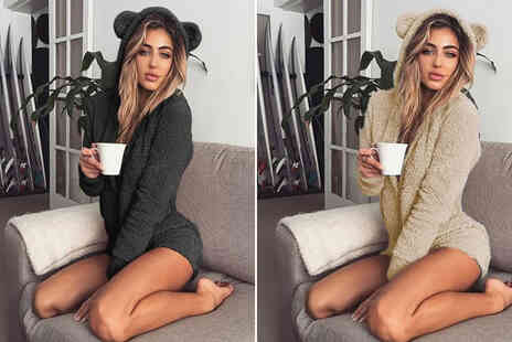 hey4beauty - Womens teddy bear fleece playsuit - Save 63%