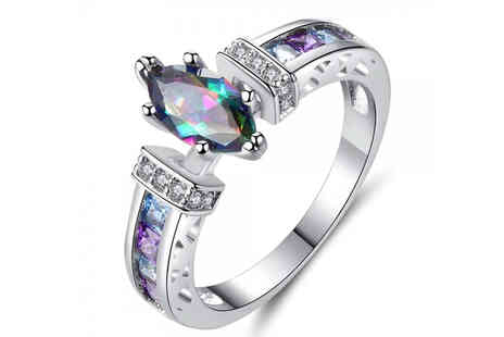 Your Ideal Gift - Lab created gemstone rainbow ring - Save 87%