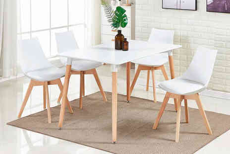 My Home Furniture - White dining table with four chairs - Save 60%