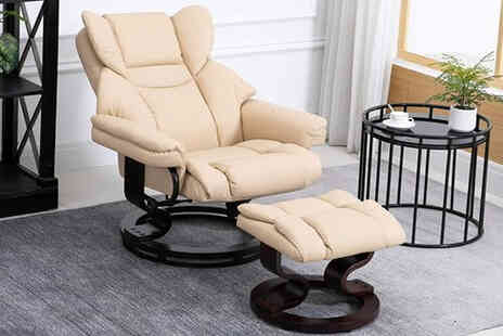 Mhstar Uk - Beige PU leather reclining armchair with footstool - Save 24%