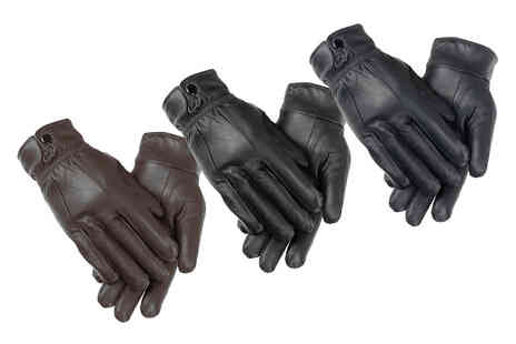 Woodland Leathers - Pair of womens elasticated fleece lined leather gloves in sizes S To XL - Save 0%