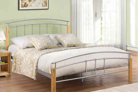 FTA Furnishing - Curved beech and silver tone bed frame - Save 60%