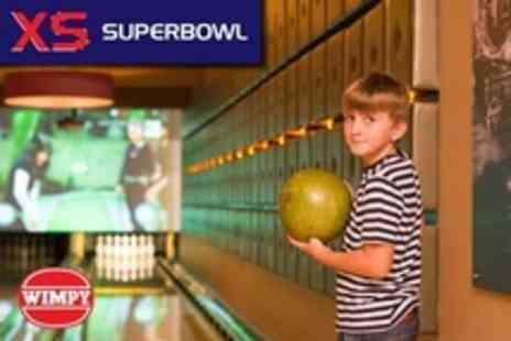 XS Superbowl - Two Bowling For Four Games Plus Burger Each - Save 76%