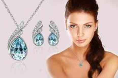 Dress Room - White gold plated matching earrings and necklace set - Save 13%