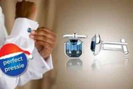 Dress Room - Pair of rhodium plated blue crystal cufflinks - Save 78%
