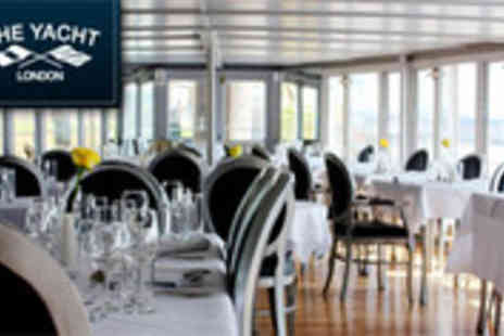 The Yacht London - Three course Sunday dinner for two on Londons luxurious floating - Save 50%