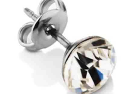 Diamond Style - Pair of beautiful sterling silver & Swarovski Crystal Elements ear studs - Save 80%