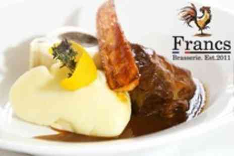 Francs Brasserie - Five Courses For Two With Wine - Save 51%