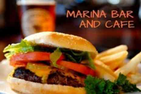 Marina Bar and Cafe - Burger and Beer For Two - Save 56%
