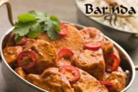 Barinda - Indian Meal Starter, Main, and Rice For Two - Save 62%