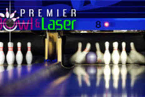 Premier Bowl and Laser - Bowling for 4 people including food and drink - Save 64%