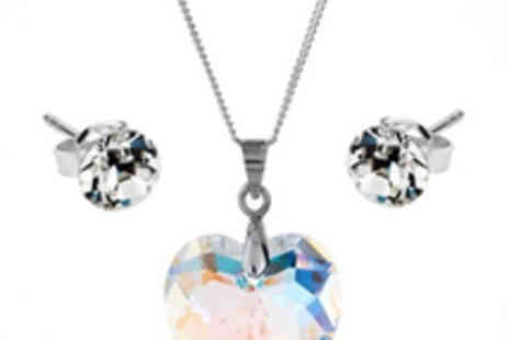 Diamond Style - Large Crystal Heart Pendant and Stud Earrings Set - Save 85%