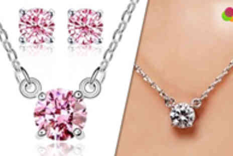 Roolyn - 18k White Gold Plated Crystal Necklace & Earrings Set - Save 89%