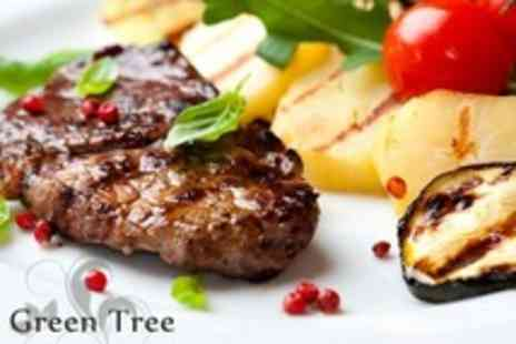 The Green Tree - 10oz Rib Eye Steak and Wine For Two - Save 50%
