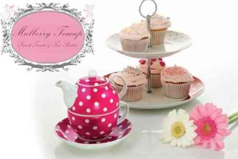 Mulberry Teacup - Afternoon Tea Delivered For Two With Bouquet of Six Cupcakes With Flower Pot - Save 56%