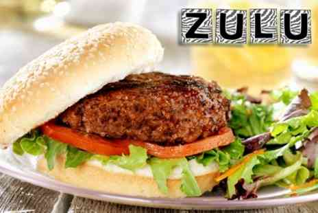 Zulu - Choice Of Burger For Two - Save 50%