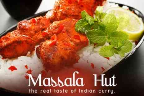 Massala Hut - Three Course Indian Banquet For Two Plus Glass of Wine Each - Save 61%