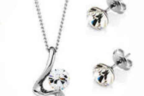 Diamond Style - White Gold Plated Pendant and Stud Earrings Set - Save 46%