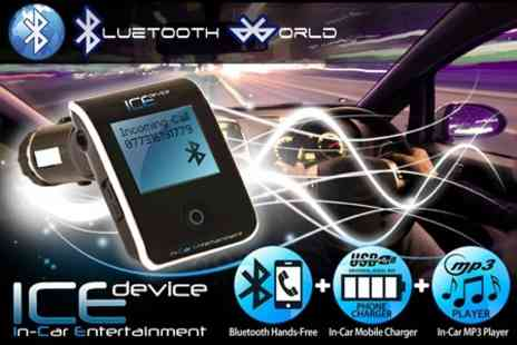 Bluetooth World - ICE Device All In One Bluetooth Car Kit With Universal Phone Charger Bundle - Save 71%