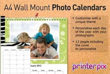 Printerpix - One Personalised A4 Wall Mount Photo Calendars - Save 78%