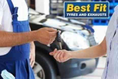 Best Fit Tyres - MOT and Valet includes pressure wash, alloy wash, and window clean - Save 69%