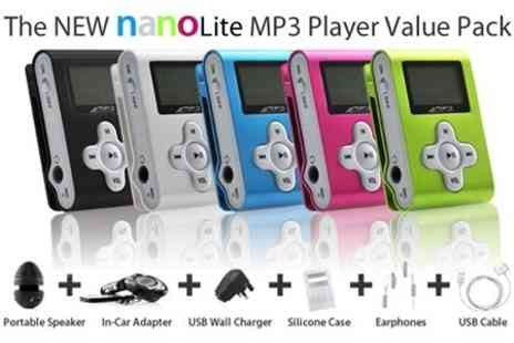 Nanolite - 4GB MP3 Player with Portable Speakers and Car Adaptor - Save 64%