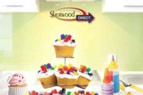 Sherwood Direct - Three Tier Cupcake Stand, 11 Piece Decorating Set, and Afternoon Tea Cup Set - Save 55%