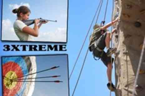 3xtreme - Abseiling, Rock Climbing, Airsoft Shooting, Axe Throwing, Rifle Range and Archery - Save 58%
