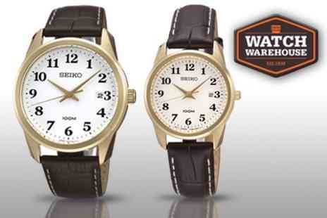 Watch Warehouse - Seiko Ladies or Men's Leather Strap Watch With Free Delivery - Save 53%