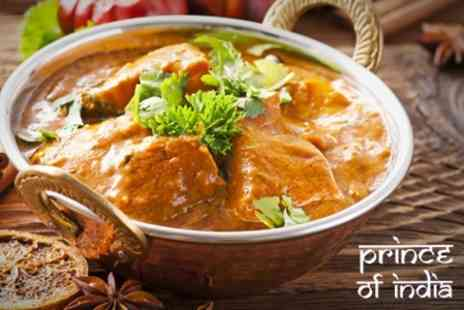 Prince of India - Two Course Indian Meal With Rice For Two - Save 56%