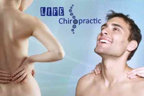 Life Chiropractic - Neck and Back Pain Consultation Plus Two Chiropractic Sessions including Deep Tissue Massage and Posture Rehabilitation Workshop - Save 74%