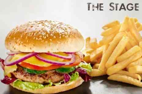 The Stage - Beer and Burger with Two Side Dishes For Two - Save 51%