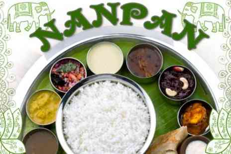 Nanpan - Indian Thali Meal With Poppadums and Drinks For Two - Save 58%