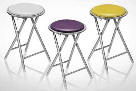 Mahahome.com - Set of Folding Stools With Coloured Seats - Save 33%