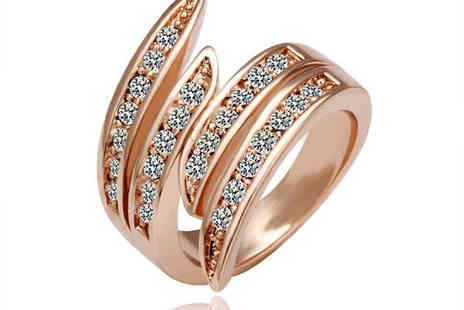 Chainz Jewellery - Classic sparkle to your fingers with the stunning 18k Swarovski Elements Wave Rose Gold Ring. - Save 83%