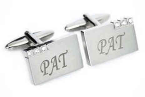 Gift Cookie - Personalised Diamante Cufflinks - Save 55%