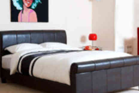 Crazy Price Beds - Andalucia leather brown bed frame - Save 72%