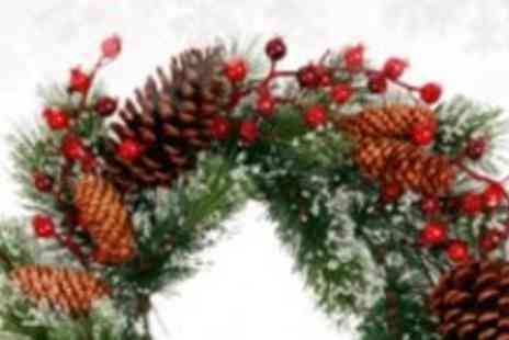 Xmas Decorations Car Boot - Frosted Christmas Wreath - Save 50%