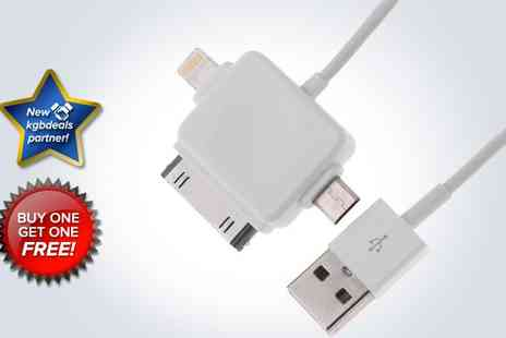 Bazaared - Three in One Lightning, 30 pin and micro USB charging cables - Save 67%
