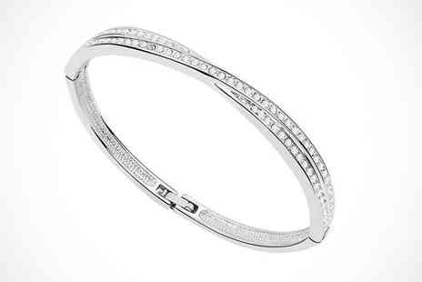 Trinkets - White Gold Plated Crystal Bangle - Save 66%
