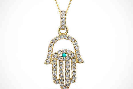 Spirit - Hand Shaped Hamsa Pendant in Choice of Three Styles with Chain - Save 78%