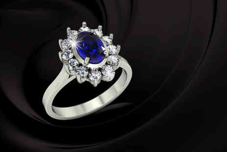 9 Stones Jewellery - Natural blue sapphire & cubic zirconia ring in the style of Kate Middleton - Save 79%