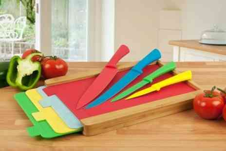 James Russell - Nine Piece Knife and Chopping Board Set - Save 70%