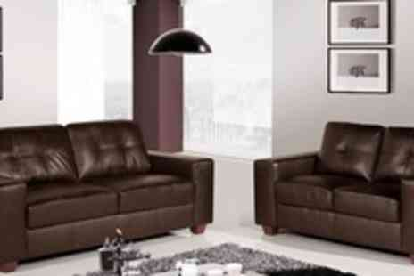 Premium Sofas - Two Seater and Three Seater Madeira Leather Sofa in Black or Brown - Save 71%