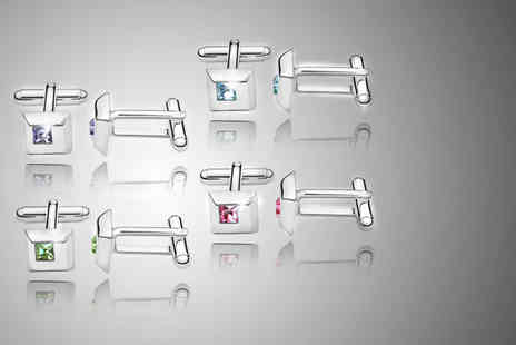 Trinkets - Pair of solid or dotted crystal cufflinks in a choice of colours - Save 65%