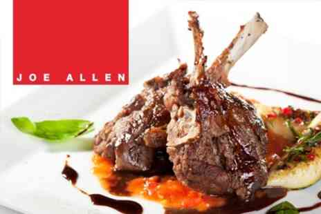 Joe Allen Restaurant - Three Course Meal for Two for £25 - Save 63%