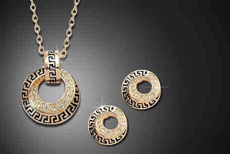 Trinkets - Versace inspired 18K gold plated pendant and earring set - save 75% - Save 75%